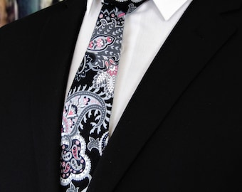 Floral Neck Tie – Mens Floral Paisley Necktie, Also Available as a Skinny Tie and a Extra Long Tie.
