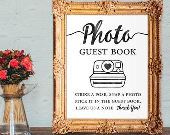 Photo guest book - strike a pose, snap a photo, stick it in the guestbook, leave us a note - wedding guest book - 8x10 - 5x7