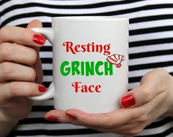 Resting Grinch Face Mug | Funny Christmas Gift Mug For Christmas Lovers