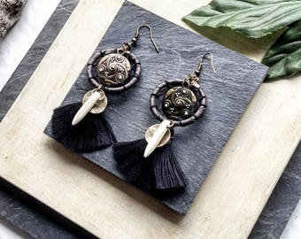 Black tassels  earrings, hoop earrings, fringe earrings, boho