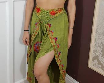 Work Embroidery Festival Harem Aladdin Belly Dance Trouser Red Blue Pink Green Purple Black Side Split Fisherman Pant  UK Size 8 10 12 14 16