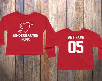 Cute Long Sleeve Valentine Shirt Kindergarten Hunk Heart with Arrow 4 Year Old 5 Year Old 6 Year Old Valentine Cute JK SK Shirt Long Sleeve