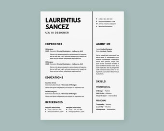Clean Resumes | CV Template | Professional and Creative Resume | Teacher Resume | Word Resume | Instant Download