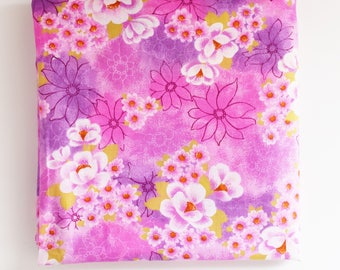 Retro Fabric Remnant -  Bright Pink and Floral Pattern -  Light Cotton Blend - 1960's -70's  Era