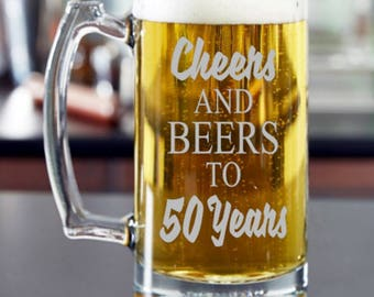 Cheers and Beers to 50 Years, Birthday Etched Beer Mug, 50th Birthday Gift, Birthday Present, Personalized Birthday Beer Glass, Beer Mug