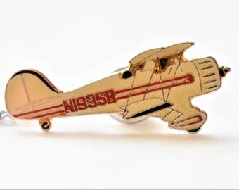 Vintage Enamel Biplane Airplane Tie Tack Pin Bar and Chain Men's Retro Tie Jewelry Accessories Gift 2.5""