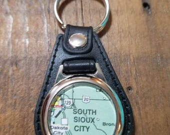 South Sioux City Key Fob, Nebraska Keychain, Map Keychain, Black Leatherette Keychain