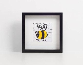 Bee print - mini prints - ink and watercolour - mixed media art  - linoprint - kids room art - animal prints - bumblebee prints - cute bees