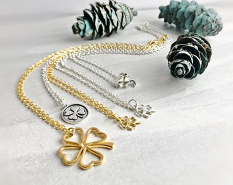 "Four Leaf Clover Pendant Necklaces on 18"" Chain, Shamrock Necklace, Silver or Gold Necklace, Good Luck Necklace"