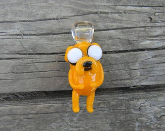 Jake Adventure Time inspired glass pendant, heady glass art, ready to ship, tilted head, cute