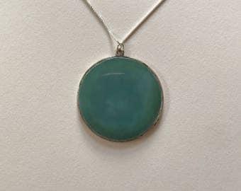 Large Vintage Greenish Blue Agate 925 Sterling Silver Pendant Necklace