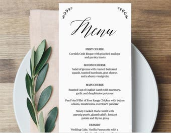 Menu Template, Wedding Dinner Menu Printable, 100% Editable Template, Modern Calligraphy Menu, Instant Download, Templett, DIY #034-103WM