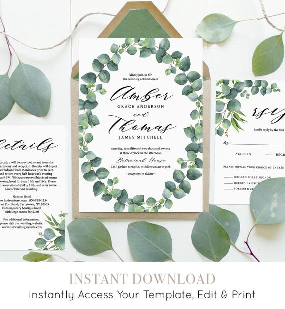 Eucalyptus Wedding Invitation Set, Greenery, Printable Invite, RSVP, Details, Instant Download, 100% Editable Template, DIY, Templett #036