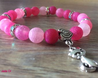 Women's beaded bracelet pink matte frosted agate 8mm rhinestones and kitten silver alloy spacer