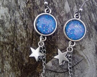 original earrings cabochon blue vintage style