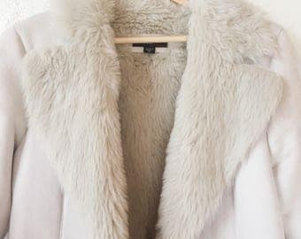 White Faux Fur Lined Suede Jacket