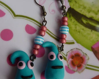 Earrings in antique bronze snowman thingy drop kawaii polymer clay fimo blue turquoise and seed beads