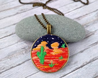 Cactus jewelry Handmade jewelry gift|for|sister Cacti necklace Desert necklace Night desert pendant Wild west jewelry Embroidered jewelry