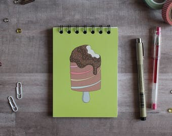 NOTEPAD. A6 Cute Ice Cream Spiral Notepad. Soft 300 gsm Card Cover. 120 blank pages. Matte lamination pleasant to the touch.