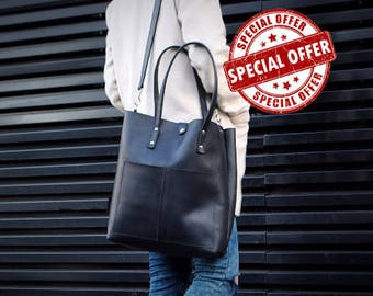 Leather Tote Bag, Black Leather Tote, Leather Shoulder Bag, Leather Diaper Bag, Laptop Bag, Leather Bag