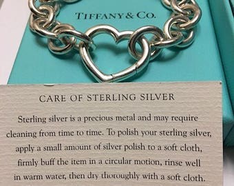 Authentic TIFFANY & CO Signed Chunky Solid Sterling Silver 925 Padlock Heart Link Toggle Bracelet 44 Grams Vintage Women's Fine Jewelry
