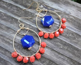 Coral Hoop Earrings, Red Coral Earrings, Gold Hoop Earrings, Royal blue Earrings, Gold Wire Wrapped, Bridesmaid Gift FREE SHIPPING