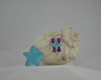 Blue earrings, Purple earrings, Dangle earrings, Recycled glass earrings, Silver earrings