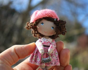 Cloth art dollhouse miniature doll, small fabric pocket doll, tiny textile doll, gift for her, mini rag doll, toy for doll, little doll