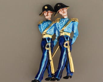 Unique vintage French honor guard soldiers brooch