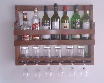 Wine Rack, Wine glass holder, Rustic wine rack