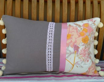 French country cushion pillow vintage brocante recycled fabrics feather pad unique hand made in France pink grey apricot coussin-chic!