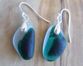Dark Green End of Day Sea Glass Sterling Silver Earrings, Beach Jewelry, Seaglass, Seaham, Mismatched Earrings, Beach Glass Earrings, Multi