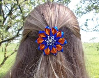 Hair clip flower blue and orange/kanzashi/satin ribbon/kanzashi flower hair clip