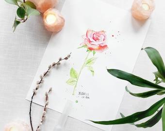 """Originale Malerei auf Aquarellpapier - """"Rose"""" 2014 von Buttafly - Rose - 36 x 48 cm  (14,17"""" x 18,9"""") - Kunstwerk"""