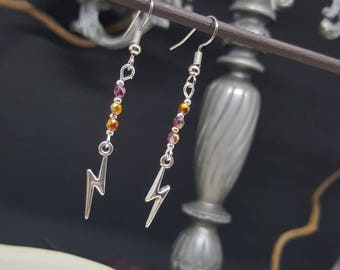 Lightning - magic - lightning - scar - Bohemian beads - philosopher - witch earrings