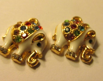 White Enamel Elephant Charms with Rainbow Rhinestones, 13mm, Set of 2