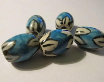 Vintage Hand Painted Blue Oblong Ceramic Drum Bead with White Floral Caps, 15mm, Set of 5