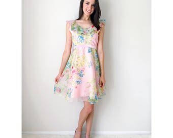 Vintage pink dress | blush pink floral print ruffle sleeveless dress pale pink velvet belt with bow 60's dress summer dress | size xx-small