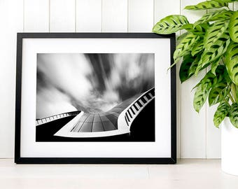 The Sage, monochrome curved architecture roof lines, north east photography, curved glass roof abstract architecture, Black and white curves