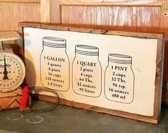 Mason Jar Farmhouse Kitchen Sign - Wood Sign - Home Decor - Rustic Decor - Farmhouse Style