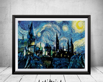 Hogwarts Castle, Harry Potter Paintings, Harry Potter Print, Harry Potter Art, Harry Potter Poster, Harry Potter Starry Night Hogwarts Art