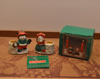 1992 House Of Lloyd Christmas Around The World Two Small Carollers Candleholders
