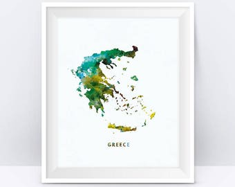 Greece Map Print Greece Poster Athens Watercolor Painting Greek Map Wall