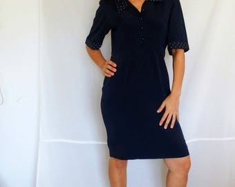 Womens midi navy dress with polka dot details silk navy cocktail dress midnight blue 80s 90s work dress vintage Size Medium US 8