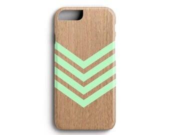 Wood iPhone Case - Mint Green Chevron Geometric Wood Print - Premium Apple iPhone 5, 5S, 5SE, 6, 6S, 6 Plus Case