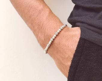 Men's Bracelet, Minimal Bracelet Men, Metallic Bracelet, Metallic Beads Bracelet, Tiny Bracelet, Gift for Men, Made in Greece.