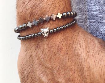 Hematite Bracelets Men, Cross Bracelet, Beaded Bracelets, Men's Bracelet, Minimal Bracelet, Hematite Bracelets, Tiger Bracelet, Gift for Him
