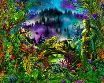 "Psy Вackdrop ""Elven Forest"" blacklight active Fluorescent Wall hanging Deco Psytrance psychedelic tapestry uv backdrop"