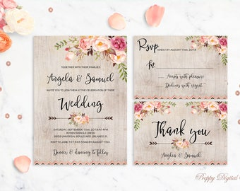 Rustic Wedding Invitation Printable Wedding Invitations Floral Suite Wedding Invite Boho Peonies Bohemian Wedding Set Autumn Digital File