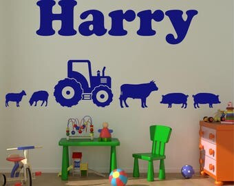 TRACTOR Farm Yard Personalised ANY NAME Cow Sheep Pig Animal Vinyl Matt Boy Girl Childrens Wall Art Sticker Decal 20 colours *3 Sizes*